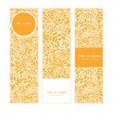 Banderas verticales de las rosas de oro del cordón del vector fijadas ilustración del vector