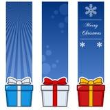Banderas verticales de los regalos de la Navidad fijadas stock de ilustración