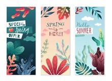 Banderas verticales decorativas del verano de la primavera Colores agradables y pendientes delicadas ilustración del vector