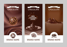 Banderas verticales del chocolate del vector realista determinado Fotos de archivo libres de regalías