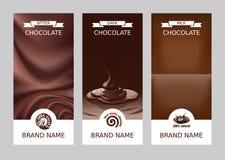 Banderas verticales del chocolate del vector realista determinado Imagen de archivo libre de regalías
