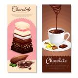 Banderas verticales del chocolate fijadas Fotografía de archivo libre de regalías