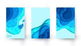 Banderas verticales del vector con el fondo de la disposici?n del corte del papel azul libre illustration