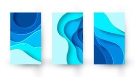 Banderas verticales del vector con el fondo de la disposici?n del corte del papel azul ilustración del vector