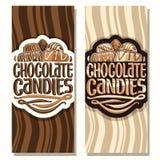 Banderas verticales del vector para los caramelos de chocolate Fotografía de archivo
