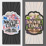 Banderas verticales del vector por tiempo de película libre illustration