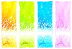 Banderas verticales naturales con un pescado de salto ilustración del vector