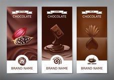 Banderas verticales realistas determinadas con el chocolate de la leche, oscuro y amargo Fotografía de archivo libre de regalías