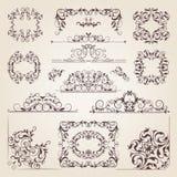 Banderas viejas del vintage, remolinos, esquinas y diversas fronteras Vector los marcos decorativos Elementos del diseño para su  stock de ilustración
