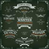 Banderas y cintas occidentales dibujadas mano Imagen de archivo libre de regalías