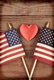 Banderas y corazón del vintage Imagenes de archivo