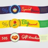 Banderas y cupones de las ventas del día de tarjetas del día de San Valentín Fotografía de archivo libre de regalías