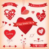 Banderas y etiquetas del amor stock de ilustración