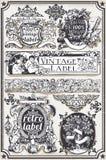Banderas y etiquetas gráficas dibujadas mano del vintage Foto de archivo