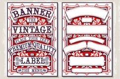 Banderas y etiquetas gráficas dibujadas mano del vintage Imagen de archivo
