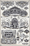 Banderas y etiquetas gráficas dibujadas mano del vintage Foto de archivo libre de regalías
