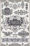 Banderas y etiquetas gráficas dibujadas mano del vintage Imagen de archivo libre de regalías