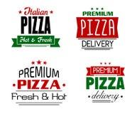 Banderas y etiquetas italianas de la pizza Fotos de archivo