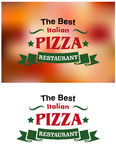 Banderas y etiquetas italianas del restaurante de la pizza Fotografía de archivo