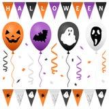 Banderas y globos del partido de Halloween fijados Foto de archivo libre de regalías
