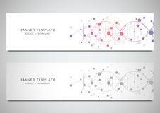 Banderas y jefes del vector para el sitio con el filamento de la DNA y la estructura molecular Investigación de la ingeniería gen ilustración del vector