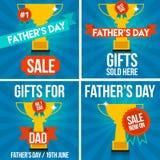 Banderas y muestras de la venta del día de padre Foto de archivo libre de regalías