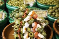 Banderilla of olives royalty free stock photography