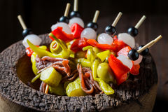 Banderillas with fresh ingredients for spanish corrida. Closeup of banderillas with fresh ingredients for spanish corrida Royalty Free Stock Photos