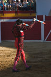 Banderillero, the torero who, on foot, places the darts in the bull. The banderillas is Brightly-coloured darts placed in the bull, Spain Stock Images