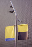 Banderole. Contemporary lamp post with advertising banners Royalty Free Stock Images