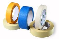Bandes collantes, rubans adhésifs, papier enduit et coloré simple de tape? Photographie stock libre de droits