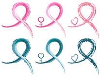 Bandes de cancer du sein et de cancer différent Image stock