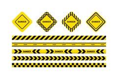 Bandes de danger, signe de danger illustration stock