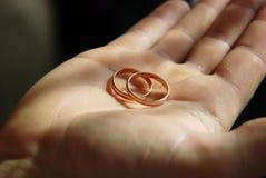 Bandes de mariage de la mariée dans la paume de la main Photographie stock libre de droits