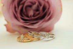 Bandes de noces de diamant Images stock