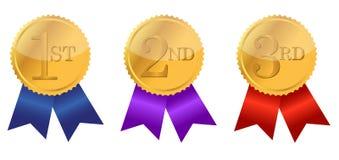 Bandes de récompense d'or Photo libre de droits