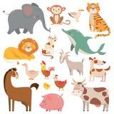 Bandes dessinées éléphant, mouette, dauphin, animal sauvage d'enfant Les animaux d'animal familier, de ferme et de jungle dirigen illustration de vecteur
