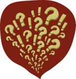Bandes dessinées avec des questions et des marques d'exclamation dans une bulle rouge illustration de vecteur