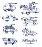 Bandes dessinées comiques des voitures militaires Ensemble de vecteur Image libre de droits