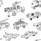 Bandes dessinées comiques des voitures militaires Fond sans couture Photo stock