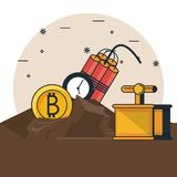 Bandes dessinées d'exploitation de Bitcoin illustration stock