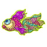 Bandes dessinées mer de bande dessinée ou poissons de rivière Images stock