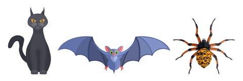Bandes dessinées mystiques d'araignée et de souris de chat de sorcières d'animaux Actions im illustration de vecteur