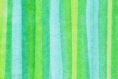 Bandes vertes horizontales d'aquarelles Photos stock