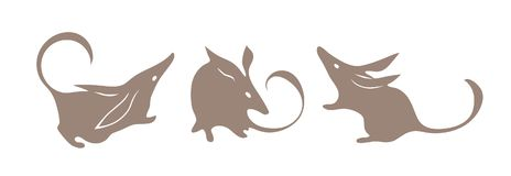 Bandicoot, австралийское животное Вектор Bilby Изолированный силуэт установленный для логотипа Стоковые Изображения
