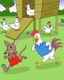 Bandicot i kurczaki bawić się w jard kreskówce royalty ilustracja