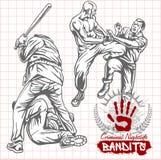 Bandidos y gamberros - vida nocturna criminal ilustración del vector
