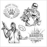 Bandidos y gamberros - vida nocturna criminal stock de ilustración