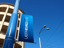 Bandiera 2012 dell'euro a Varsavia, Polonia Fotografia Stock Libera da Diritti