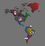 Bandiera America Latina del bottone della mappa di mondo Fotografie Stock Libere da Diritti